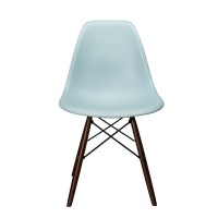 Nature Series Ice Blue DSW Molded Plastic Dining Chair Dark Walnut Wood Eiffel Legs
