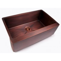 Brushed Coffee Finish Copper Single Bowl Flat Front Farmhouse Apron Kitchen Sink - 33 x 20 x 10 Inch