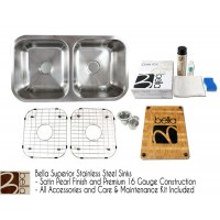 Bella 32 Inch Stainless Steel Double Bowl 50/50 Kitchen Sink - Premium 16 Gauge Bella Series w/ FREE ACCESSORIES