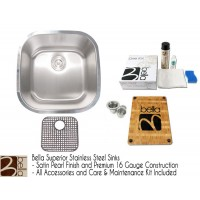 Bella 20 Inch Stainless Steel Single Bowl Kitchen Sink - Premium 16 Gauge Bella Series w/ FREE ACCESSORIES