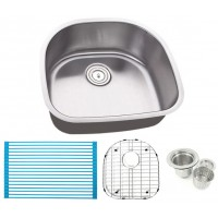 23 Inch Stainless Steel Undermount Kitchen / Bar / Prep Sink D-Bowl - 16 Gauge FREE ACCESSORIES