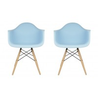 2 X DAW Dining Armchair with Wood Eiffel Legs in Sky Blue