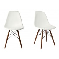 2 X Eames Style DSW Dining Shell Chair with Dark Walnut Eiffel Legs in White