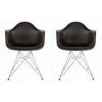 2 X Eames Style DAR Dining Armchair with Steel Eiffel Legs in Black