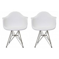 2 X DAR Dining Armchair with Steel Eiffel Legs in White