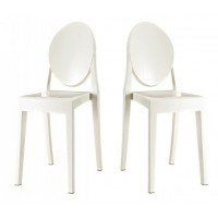 2 X Victoria Style White Color Ghost Dining Chair