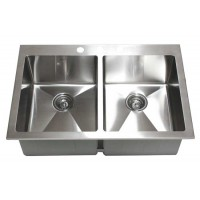 33 Inch Top-Mount / Drop-In Stainless Steel Double Bowl Kitchen Sink 15mm Radius Design