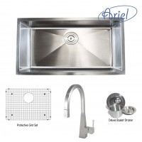 Ariel 32 Inch Stainless Steel Undermount Single Bowl Kitchen Sink with Imperial Stainless Steel Faucet