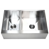 33 Inch Stainless Steel Flat Front Farm Apron 40/60 Double Bowl Kitchen Sink