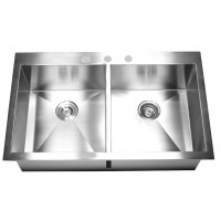 36 Inch Top-Mount / Drop-In Stainless Steel Double Bowl Kitchen Sink Zero Radius Design