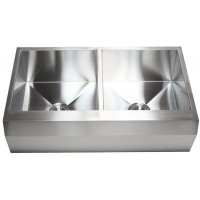 36 Inch Stainless Steel Well Angled Front Farmhouse Apron Kitchen Sink 50/50 Double Bowl