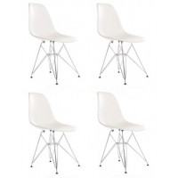 4 X DSR Dining Shell Chair with Steel Eiffel Legs in White
