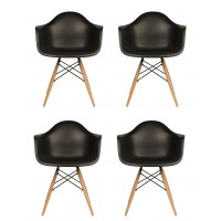 4 X DAW Dining Armchair with Wood Eiffel Legs in Black
