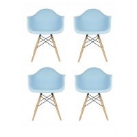 4 X Eames Style DAW Dining Armchair with Wood Eiffel Legs in Sky Blue