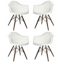 4 X DAW Dining Armchair with Dark Walnut Eiffel Legs in White