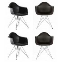 4 X Eames Style DAR Dining Armchair with Steel Eiffel Legs in Black