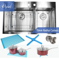 33 Inch Top-Mount / Drop-In Stainless Steel 60/40 Double Bowl Stainless Steel Kitchen Sink 15mm  Radius Design Premium Combo Package