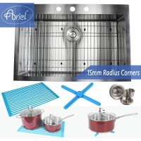 33 Inch Top-Mount / Drop-In Stainless Steel Kitchen Sink 15mm  Radius Design Premium Combo Package