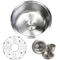 18 Inch Stainless Steel Undermount Single Bowl Kitchen / Bar / Prep Sink Round - 18 Gauge FREE ACCESSORIES
