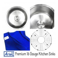 Ariel Pearl 17 Inch Stainless Steel Undermount Single Bowl Kitchen / Bar / Prep Sink - 16 Gauge
