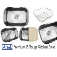 Ariel Pearl 23 Inch Premium 16 Gauge Stainless Steel Undermount Single Bowl Kitchen Sink with FREE ACCESSORIES