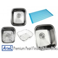 Ariel Pearl 15 Inch Stainless Steel Undermount Single Bowl Kitchen / Bar / Prep Sink - 18 Gauge FREE ACCESSORIES