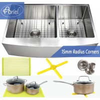 Ariel 36 Inch Stainless Steel Curved Front Farm Apron 60/40 Double Bowl Stainless Steel Kitchen Sink Premium Package 15mm Radius Design