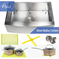 Ariel 33 Inch 16 Gauge Curved Front Apron Single Bowl Stainless Steel Kitchen Sink Premium Package 15mm Radius Design