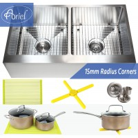 Ariel 36 Inch Stainless Steel Flat Front Farm Apron 50/50 Double Bowl Stainless Steel Kitchen Sink Premium Package 15mm Radius Design