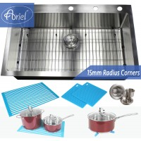 36 Inch Top-Mount / Drop-In Stainless Steel Kitchen Sink 15mm  Radius Design Premium Combo Package