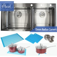 43 Inch Drop In Stainless Steel Double Bowl Stainless Steel Kitchen Sink 15mm  Radius Design Premium Combo Package
