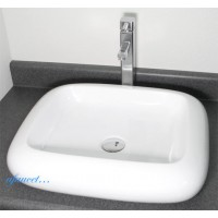 22 Inch Rounded Edge Rectangular Porcelain Ceramic Countertop Bathroom Vessel Sink