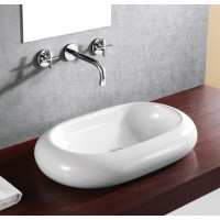 25-1/2 Inch Rounded Edge Oval Porcelain Ceramic Counter top Bathroom Vessel Sink