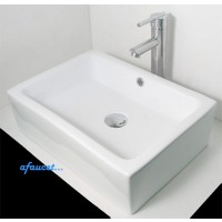 20 Inch Rectangular White / Black Porcelain Ceramic Bathroom Vessel Sink