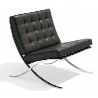 Rohe Style Classic Designer Pavilion Chair In Black Top Grain Leather