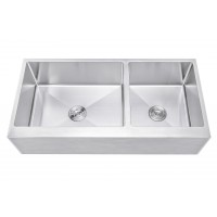 Ariel 42 Inch 60/40 Offset Double Bowl Stainless Steel Farmhouse Sink - Flat Apron Front 15mm Radius Coved Corners
