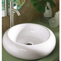 19-1/4 Inch Rounded Edge White / Black Porcelain Ceramic Countertop Bathroom Vessel Sink