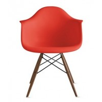 DAW Dining Armchair with Dark Walnut Eiffel Legs in Red