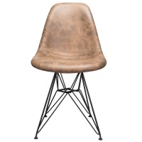 Markle Dark Brown Leatherette Fabric Upholstered Eames Style DSR Dining Chair with Black Steel Leg