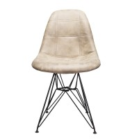 Markle Leatherette Fabric Upholstered Eames Style DSR Dining Chair with Black Steel Leg