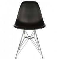 Eames Style DSR Dining Shell Chair with Steel Eiffel Legs in Black