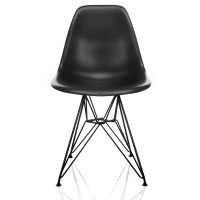 DSR Molded Black Plastic Dining Shell Chair with Black Eiffel Steel Leg