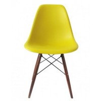 Eames Style DSW Dining Shell Chair with Dark Walnut Eiffel Legs in Yellow