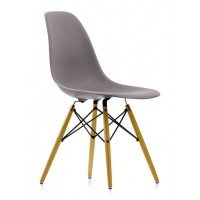 DSW Dining Shell Chair with Wood Eiffel Legs in Gray