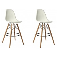 2 X Eames Style DSW Plastic Bar Stool with Wood Eiffel Legs in White