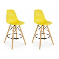 2 X Eames Style DSW Plastic Bar Stool with Wood Eiffel Legs in Yellow