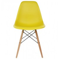 DSW Dining Shell Chair with Wood Eiffel Legs in Yellow