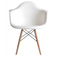 DAW Dining Armchair with Wood Eiffel Legs in White