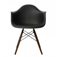 Eames Style DAW Dining Armchair with Dark Walnut Eiffel Legs in Black