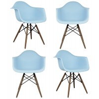 4 X DAW Dining Armchair with Dark Walnut Eiffel Legs in Sky Blue